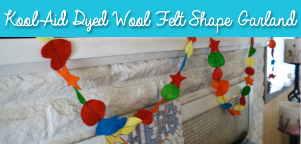 Kool-Aid Dyed Wool Felt Shape Garland from Muse of the Morning