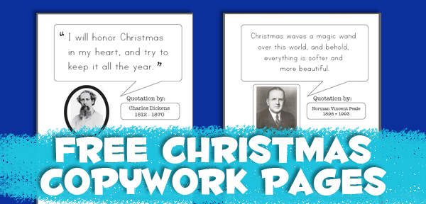 Free Christmas Quotes Copywork Pages from Muse of the Morning