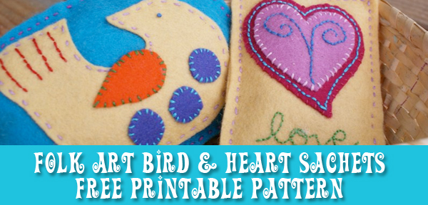 Folk Art Bird and Heart Sachet Free Printable Pattern from Muse of the Morning