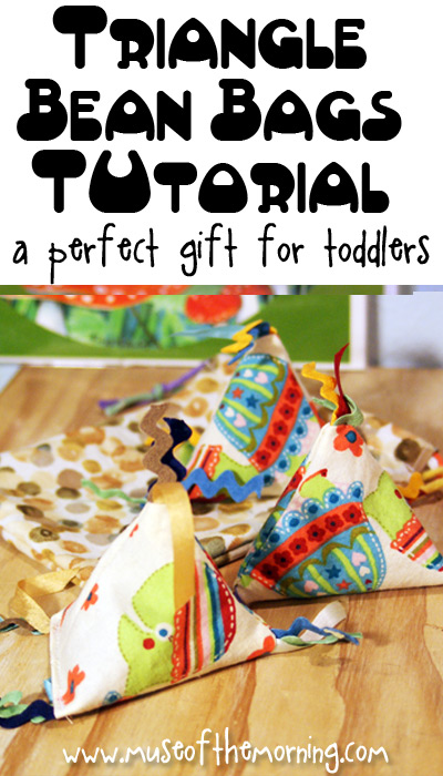 Adorable Triangle Bean Bag Tutorial written by Muse of the Morning for Fleece Fun - great toddler gift idea!