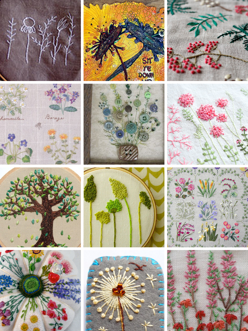 Weekend Inspiration Round-Up: Botanical Embroideries from Muse of the Morning