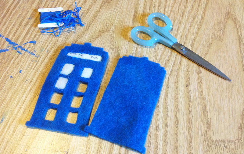 Felt TARDIS Ornament Tutorial from Muse of the Morning for CraftingCon