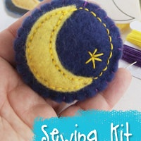 Crescent Moon Brooch Sewing Kit with hand dyed wool fetl from Muse of the Morning