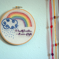 Free Rainbow and Rain Embroidery Pattern from Muse of the Morning