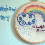 Free Embroidery Pattern: Rainbow and Clouds
