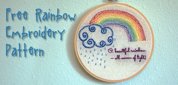 Free Rainbow and Clouds Embroidery Pattern from Muse of the Morning