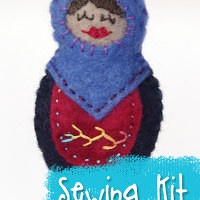Matryoshka Ornament Sewing Kit with hand-dyed wool felt from Muse of the Morning