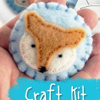 Woodland Fox Stuffed Brooch Sewing Kit with hand dyed wool felt from Muse of the Morning